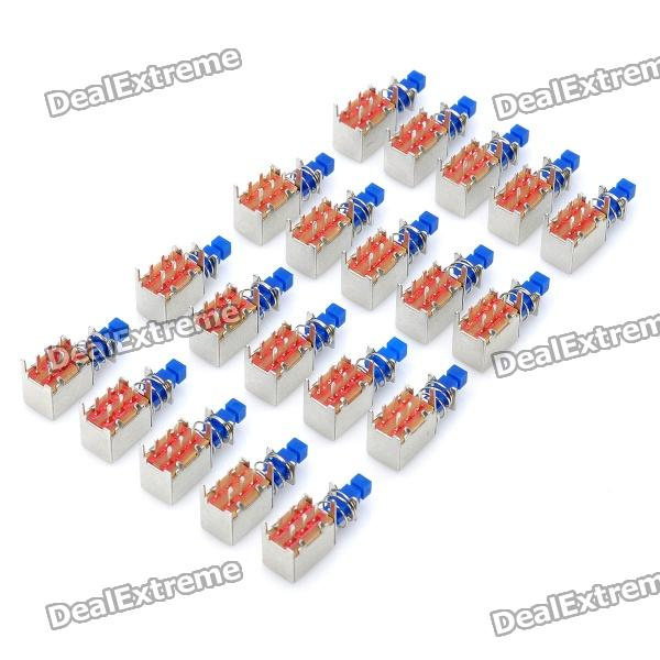DIY Electronic Button Switch - Blue + Silver (20-Piece)