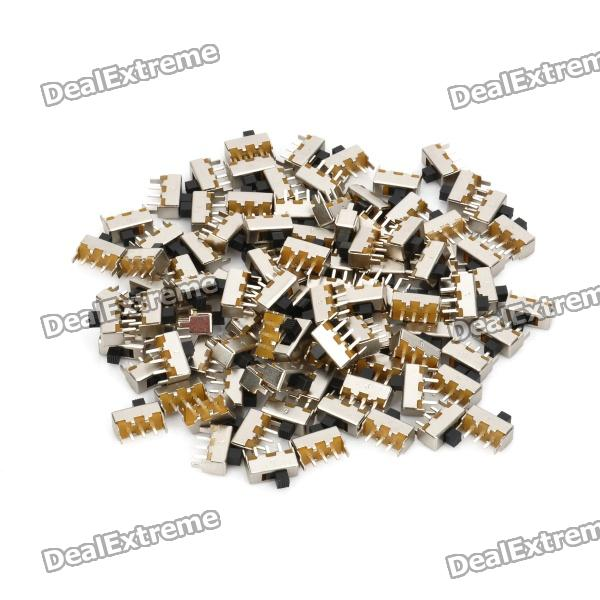 Mini Slide Switch DIY delar - Silver + svart (100-bit Pack)