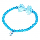 Pet Dog Necklace with Cute Cartoon Bell & Bowknot - Blue