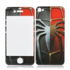 Cool Spider Man Pattern Front + Back Stickers Set for iPhone 4 / 4S - Red + Grey + Brown