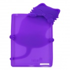 Cute PaPa Cat Style Protective Silicone Case for the New Ipad - Purple