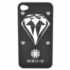 Diamond Pattern Protective Case w/ Caller Signal Flashing LED for Iphone 4 / 4S - Black (1 x CR2016)