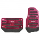 Universal Non-Slip Aluminum Alloy Pedal Set for Vehicle Brake/Accelerator - Red (2-Piece)