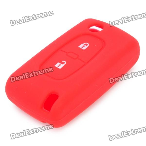 Soft Silicone Smart Key Case for Peugeot Car - Red