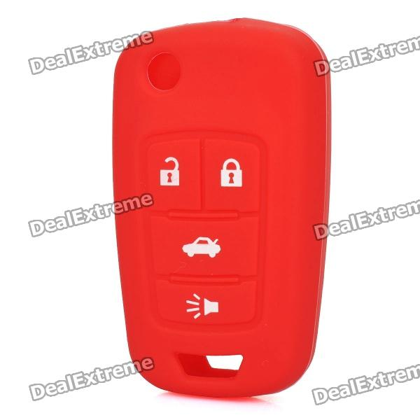 Protective Silicone Case for Buick LaCROSSE 4-Button Remote Key - Red