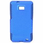 Detachable Silicone Back Case w/ Mesh Plastic Cover for Samsung i9100 / Galaxy II - Blue