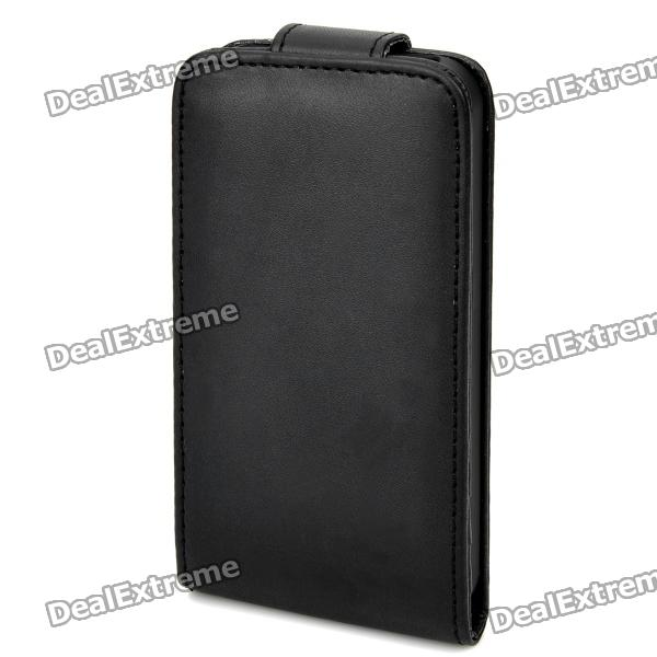 Artificial Leather Top Flip Case w/ 3 Card Slots for Iphone 4 / 4S - Black remax protective flip open pu leather case w visual window for iphone 4 4s white
