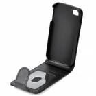 Artificial Leather Top Flip Case w/ 3 Card Slots for   Iphone 4 / 4S - Black