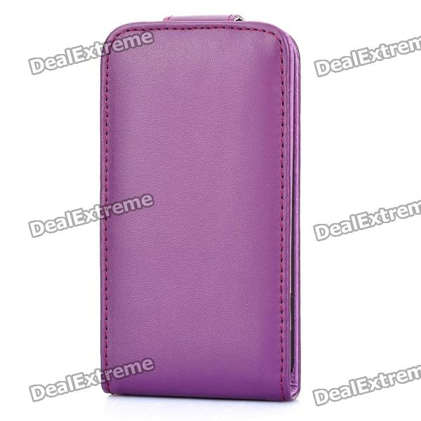 Artificial Leather Top Flip Case w/ 3 Card Slots for   Iphone 4 / 4S - Purple multi card slots leather flip phone cover for iphone 7 4 7 inch pink