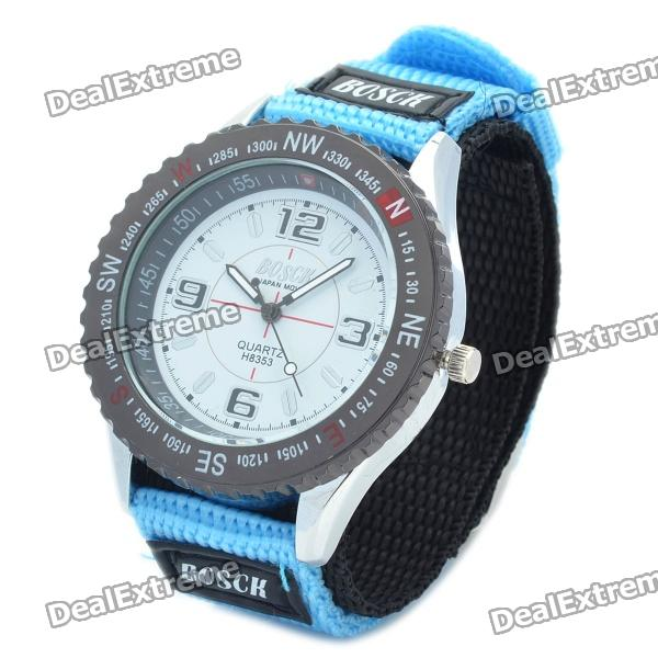 Nylon Band Sports Waterproof Wristwatch - Light Blue + Black (1 x SR626SW)
