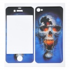 Cool Skull Pattern Front + Back Stickers for Iphone 4 / 4S - Blue