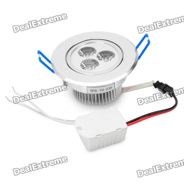 3W 6000-6500K 240-260LM 3-LED White Light Ceiling Down Lamp w/ Driver (100-240V)