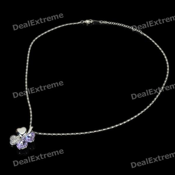 Elegant Decorative Four Leaf Clover Necklace - Light Blue + Silver 18krgp four leaves clover diamond pendant alloy necklace gold