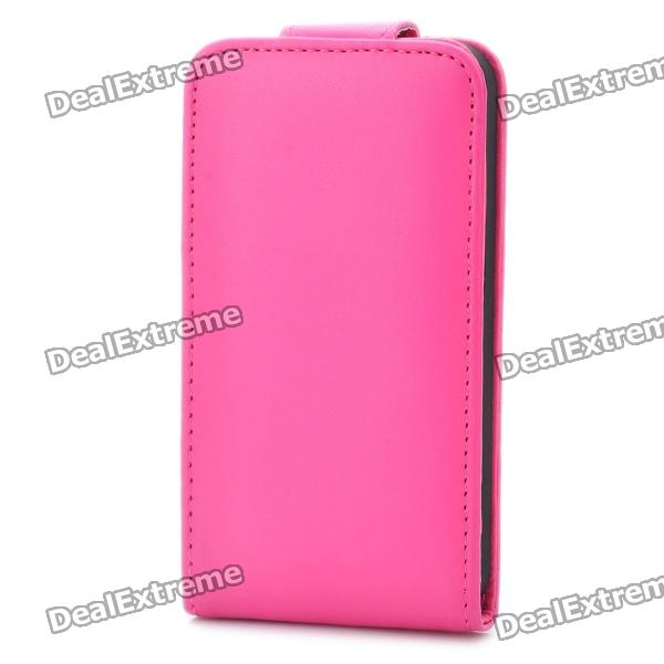 Protective PU Leather Case Cover for Iphone 4S - Deep Pink protective pu leather plastic case w display window for iphone 4 4s maroon