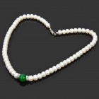 Elegant Green Malay Jade Pearl Necklace - White + Green