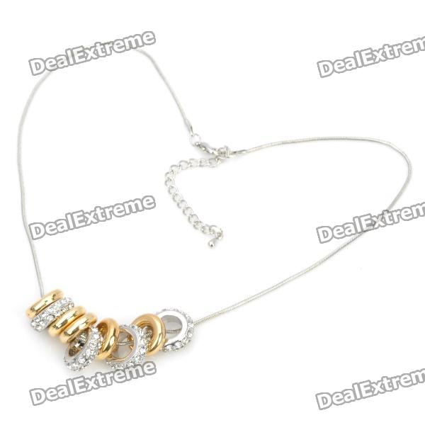 Elegant Zinc Alloy Rhinestone 9-Ring Pendant Necklace - Golden + Silver elegant crystal drill zinc alloy chain pendant necklace for women golden translucent white