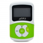 Mini Rechargeable MP3 Player Music Speaker w/ FM Radio - Green + White (4GB)