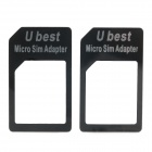 Micro SIM Card to Standard SIM Card Adapters - Black (2-Piece)