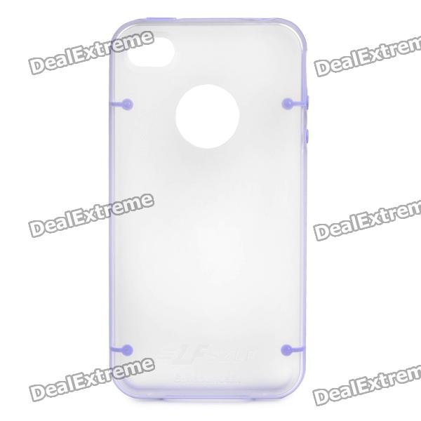 Protective PVC Back Cover Case for iPhone 4/4S - Purple + Transparent
