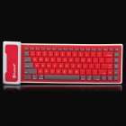 Waterproof Soft Foldable Bluetooth V3.0+HS 84-Key Keyboard for Ipad 2 / the New Ipad - Red