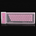 Waterproof Soft Foldable Bluetooth V3.0+HS 84-Key Keyboard for Ipad 2 / the New Ipad - Pink