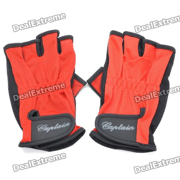 цены  Professional Velcro Half-finger Gloves - Red + Black (Pair/Size Fits All)