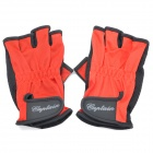 Professional Velcro Half-finger Gloves - Red + Black (Pair/Size Fits All)