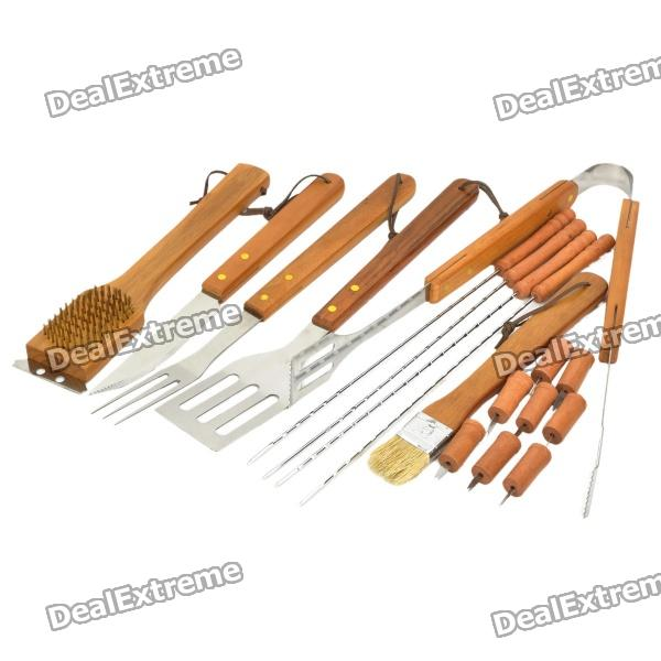 Tragbares Outdoor BBQ Grill Tool Kit - Silber + Peach Holz