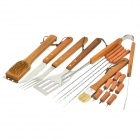 Portable Outdoor BBQ Barbecue Tool Kit - Silver + Peach Wood