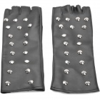 Fashion Cool Rivet Studded Long Style Half-finger Gloves - Black (Pair)