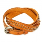 Cool 2-Row Rivet Studded Cowhide Leather Bracelet - Grey + Yellow