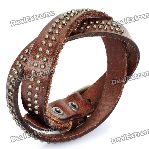 cool-punk-style-rivets-genuine-cow-leather-bracelet-brown-45cm