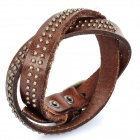 Cool Punk Style Rivets Genuine Cow Leather Bracelet - Brown (45cm)