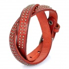 Cool Punk Style Rivets Genuine Cow Leather Bracelet - Coffee (45cm)