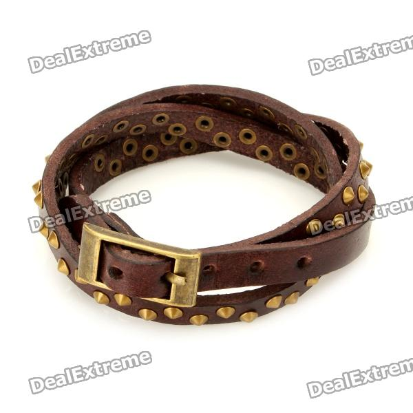 Fashion Punk Style Rivet Studded 3-Circle Cowhide Leather Bracelet - Brown + Brass fashion cupid ornament split leather bracelet coffee brown multi color