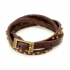 Fashion Punk Style Rivet Studded 3-Circle Cowhide Leather Bracelet - Brown + Brass