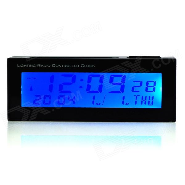 AC01 Solar Powered Car Digital Clock - Black (1 x CR2032)