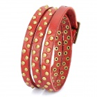 Fashion Punk Style Rivet Studded 3-Circle Cowhide Leather Bracelet - Red + Brass