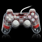 USB-Kabel Mono Shock Gaming-Controller Joypad w / Blue Light Effect für den PC - Rot + Transparent Weiß