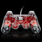 USB Wired Mono Shock Gaming Controller Joypad w/ Blue Light Effect for PC - Red + Transparent White