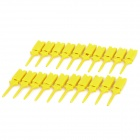 Plastic Flat Multimeter Test Hook Clip Probes for PCB IC - Yellow (20-Piece Pack)