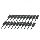 Plastic Flat Multimeter Test Hook Clip Probes for PCB IC - Black (20-Piece Pack)