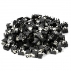 DIY 3.5mm Earphone Jack Connectors - Black + Silver (100-Piece Pack)