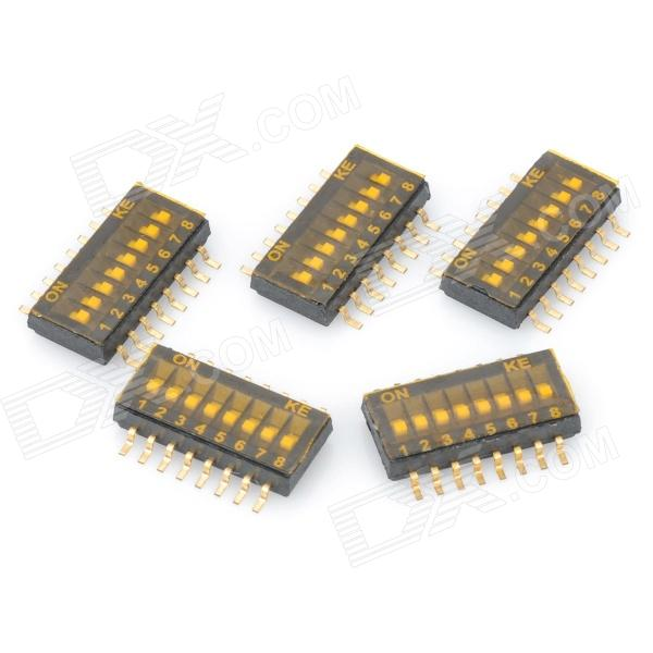 diy-8-position-127mm-half-pitch-type-dip-switches-black-golden-5-piece-pack