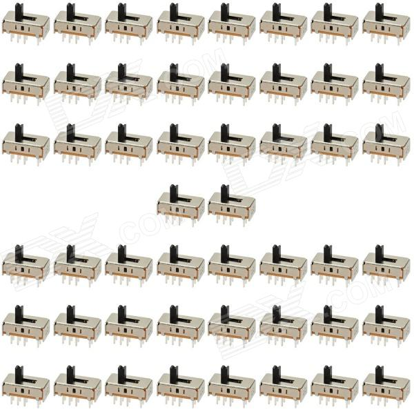 SS-23D07 0.3A 8-Pin Slide Switch for DIY Project - Black + Silver (50-Piece Pack)
