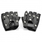 Cool Half-Finger PU Leather Gloves with Studs - Black (Pair / Size M)