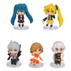 Cute Hatsune Miku Style Toy Dolls - Multicolored (5-Piece Set)