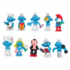 Cute The Smurfs and Gargamel Display Model Figures - Blue (10-Figure)