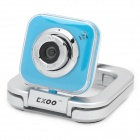 Compact 5.0MP PC USB Webcam w/ Built-in Microphone - Blue + Silver (120cm)