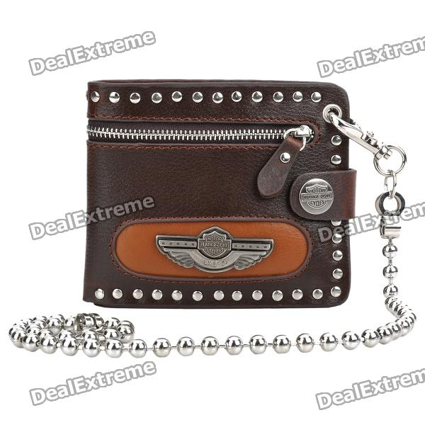 Cool Punk Style Cowhide Wallet with Decoration Chain - Silver + Brown